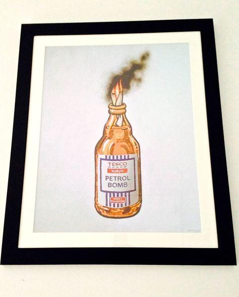 Banksy Tesco Value Petrol Bomb Framed Print From Bristol