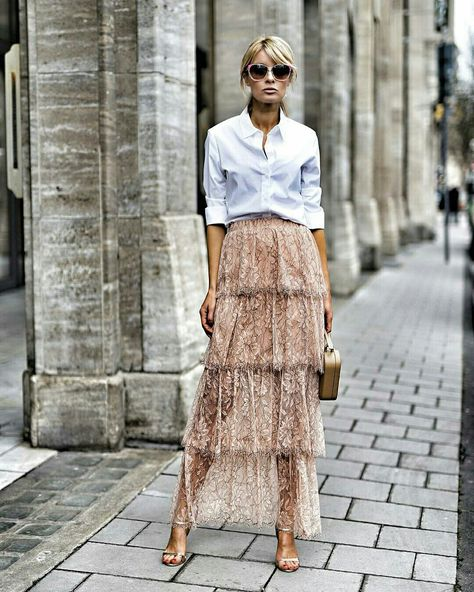 White button up + lace skirt – Summer Outfits – Summer Fashion Tips
