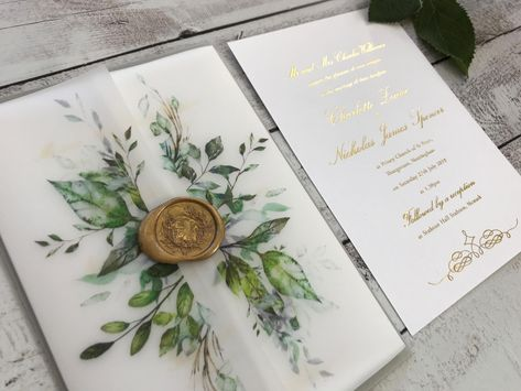 Partecipazioni Matrimonio Natura.Foiled Wedding Invitations With Green Foliage Design Vellum Wrap