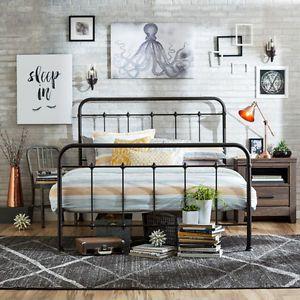 Antique Metal Bed Queen Farmhouse Vintage Bronze Headboard Footboard Bedroom New Queen Size Bed Frames Queen Bed Frame Bedroom Vintage