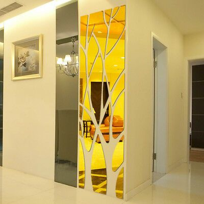 3D DIY Removable Feather Mirror Vinyl Decal Room Home Decor OC Wall Stickers Art