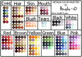 Hetalia Color Palettes By Amela Xd Skin Color Palette Anime Hair Color Color