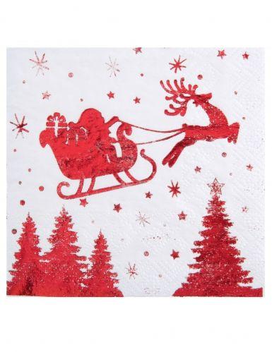 20 Serviettes En Papier Traineau Du Pere Noel Blanc Et Rouge 33 X 33 Cm Traineau Pere Noel Noel Decoration Noel