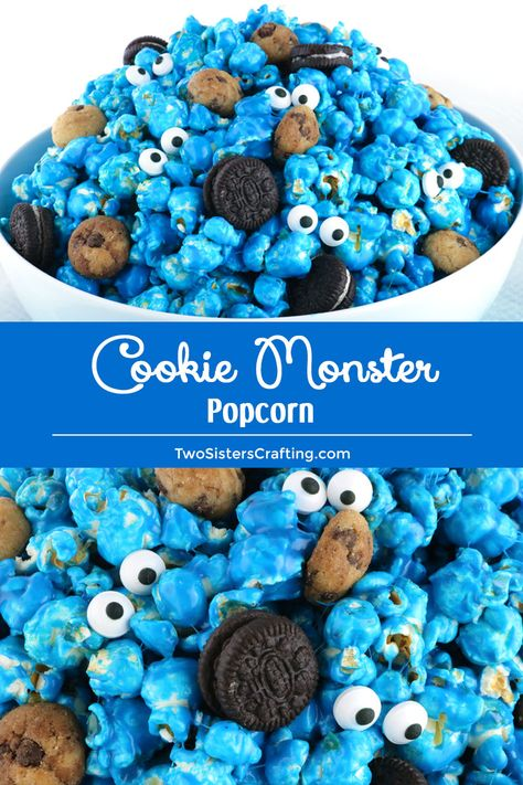 Yummy and adorable Cookie Monster Popcorn - sweet and salty popcorn mixed with mini cookies and googly monster eyes. Fun and delicious, a great combination! birthday Cookie Monster Popcorn - Two Sisters Monster 1st Birthdays, Monster Birthday Parties, Elmo Birthday, Birthday Cookies, Birthday Ideas, Popcorn Mix, Candy Popcorn, Festa Cookie Monster, Cookie Monster Cakes