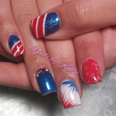 Forth of July Fireworks by nailsbykaesi - Nail Art Gallery nailartgallery.nailsmag.com by Nails Magazine www.nailsmag.com #nailart #nailpro #nailsmag #gelpolish #4thofjulynails #caldwell #idaho #nailsbykaesi #nailtech #acrylicnails