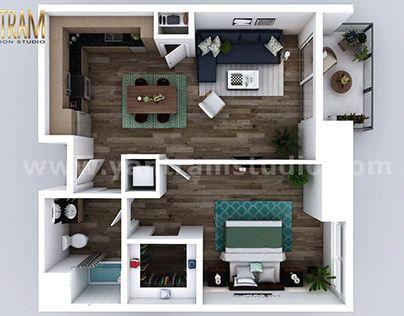 Residential One Bedroom Apartment 3d Floor Plan Design Studio Apartment Floor Plans Open Concept Floor Plans Floor Plans
