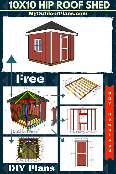 10x10 Hip Roof Shed Roof Plan 10x10 Shed Plans Hip Roof