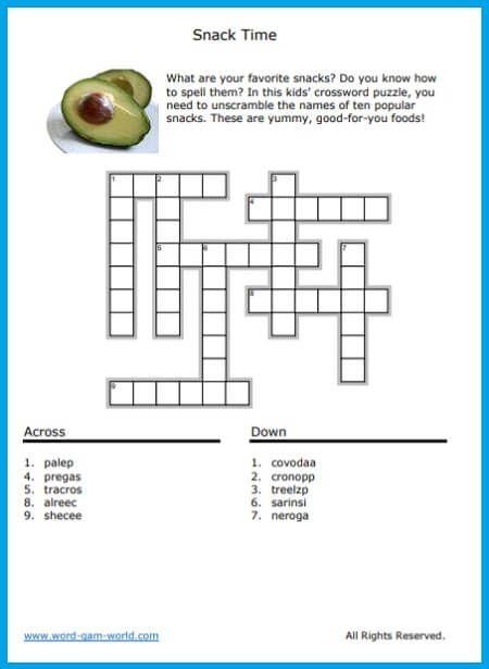 word on diet food packaging crossword