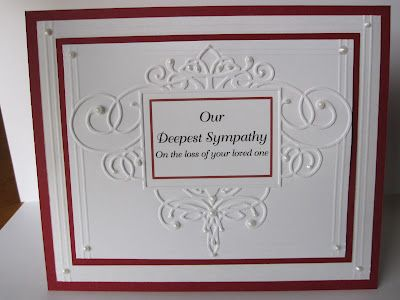-: Sympathy Card by Paper Pastime  Elegant embossing folder framed in reds on white
