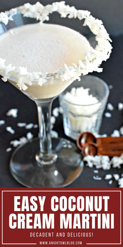 This Coconut Cream Martini is a delicious and decadent cocktail that is easy to make with cream and coconut rum! Coconut Martini, Coconut Rum Drinks, Coconut Vodka, Coconut Cream, Best Cocktail Recipes, Martini Recipes, Easy Cocktails, Cocktail Drinks, Rum Swizzle Recipe