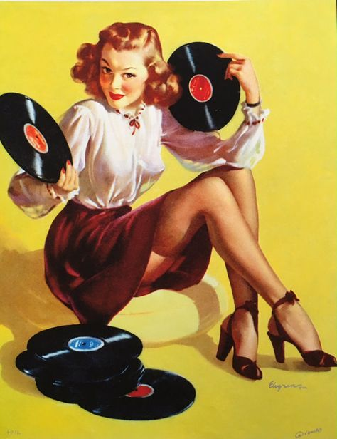 """Now, Here's a Cute Little Number"" ~ Record lovin' pin-up by Gil Elvgren, 1947 Pin Up Vintage, Retro Pin Up, Vintage Art, Vintage Music, Pinup Art, Gil Elvgren, Pin Up Illustration, Vintage Records, Vintage Posters"