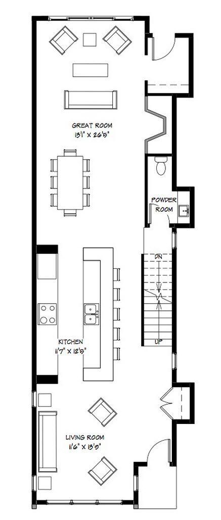 Diseño de moderna casa de dos pisos construida en terreno angosto