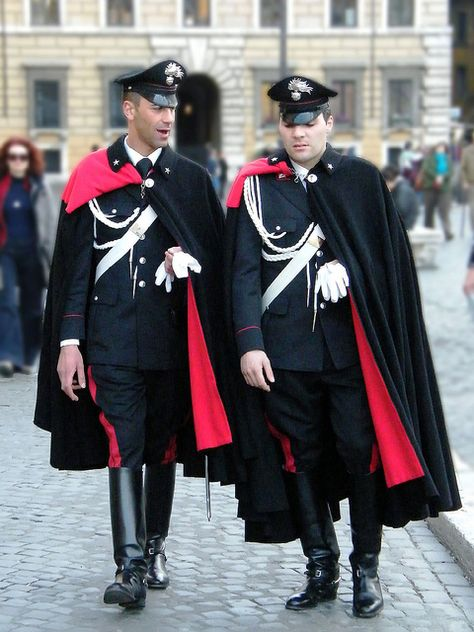 The Italian Carabinieri - Police in Capes. Very eye catching!
