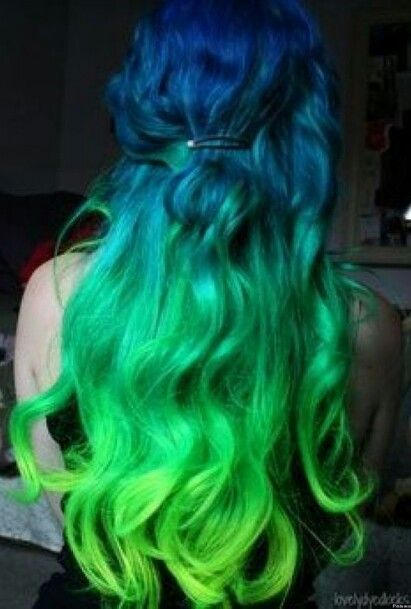Blue Faded Into Green Curls Green Hair Colors Bold Hair Color