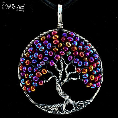 Tree of Life Necklace/Round Wire Wrapped Pendant/Autumn Color Shifting Glass Beads/Sterling Silver/Handmade Jewelry by Tim Whetsel/Bonsai