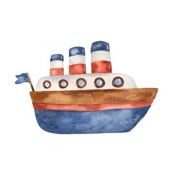 Watercolor Cute Cartoon Steamboat Clipart Adventure Boat Cargo Png And Vector With Transparent Background For Free Download Boat Cartoon Boat Illustration Clip Art