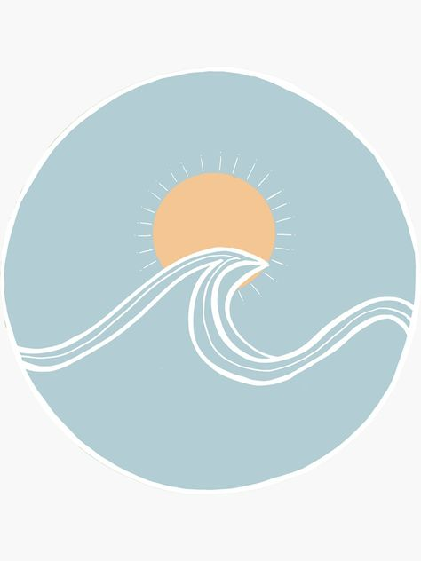 'Blue Ocean Wave with Orange Sun' Sticker by starsdelaville Cute Canvas Paintings, Easy Canvas Art, Small Canvas Art, Diy Canvas, Blue Canvas Art, Mini Canvas Art, Easy Paintings, Vinyl Record Art, Vinyl Art