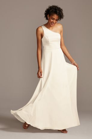 One Shoulder Crepe Back Satin Bridesmaid Dress David S Bridal Satin Bridesmaid Dresses Dresses Bridesmaid Dress Styles