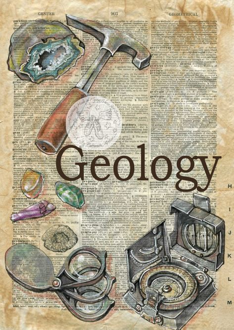 AFDRUKKEN: Geologie gemengde Media tekening op antieke woordenboek