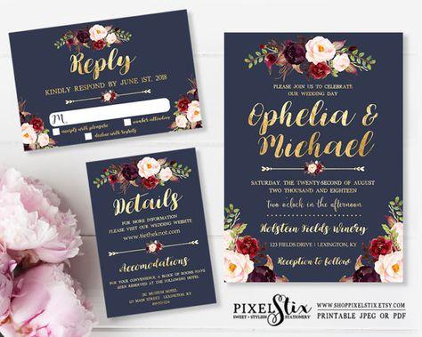 Navy Floral Wedding Invitations, Navy Wedding Invite, Marsala - fresh sample wedding invitation tagalog version