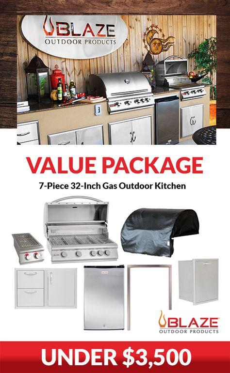 Blaze 7 Piece 32 Inch Propane Outdoor Kitchen Package Cocinas Al
