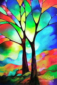 Two Trees Art Print by Sally Trace