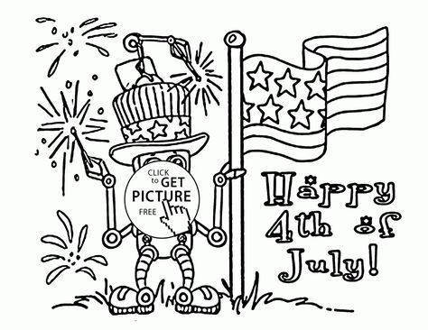 american robot  fourth of july coloring page for kids coloring pages printables free  wuppsy