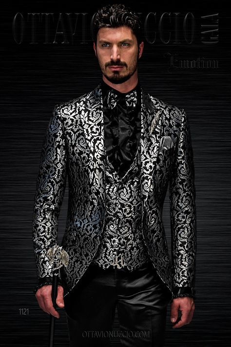 Dress for Groom with Black/Silver Tone Brocade Jacket
