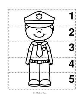 Number Sequence 1 5 Preschool B W Picture Puzzle Police Officer Community Helpers Police Community Helpers Preschool Activities Community Helpers Police worksheets for kindergarten
