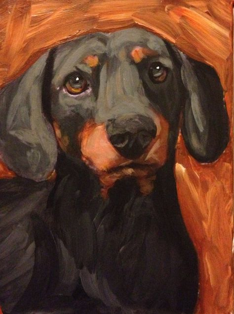 Black and Tan Dachshund Painting 6x8 Vibrant Colors Doxie