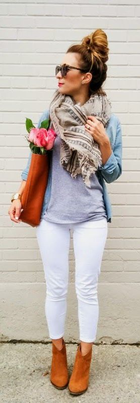 White jeans can be worn after Labor Day! There are so many ways to style this denim with our favorite fall prints and hues! Tuck these into your favorites boots for a sleep look, and pair with your sweaters, cardigans and cozy jackets! How would you style these jeans for this season?
