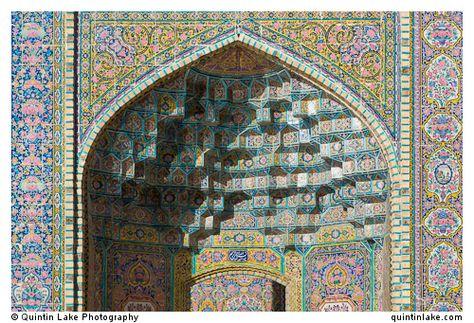 Ceramic tiles ceiling decorating a vault at Nasir al-Mulk Mosque. Photo: Quintin Lake