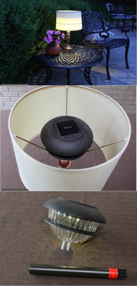 DIY Outdoor Solar Table Lamp. Love this idea!