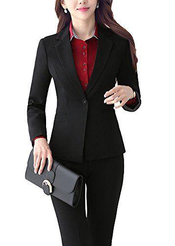 20dcd88808e228 SK Studio Femmes Tailleurs Pantalons De Bureau 2 Pièces Revers ...