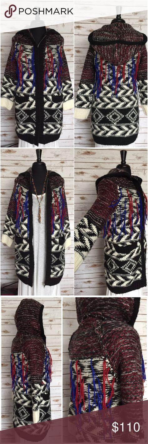 MAJE Geometric Tribal Fringe Knit Cardigan Sweater MAJE