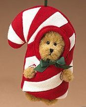 Boyds Red Candy Cane Plush Peeker Bear Ornament