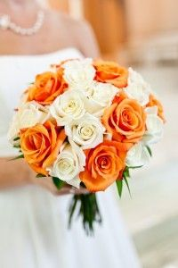 Orange And White Roses In A Bridal Bouquet