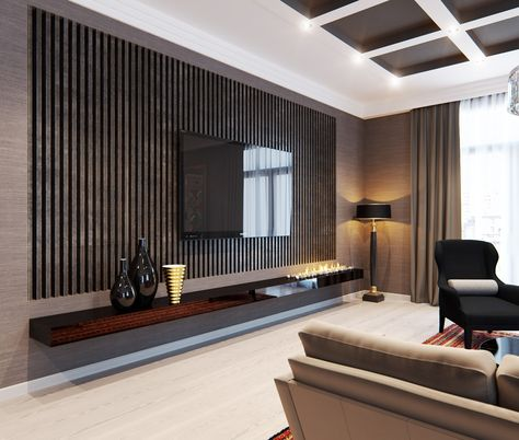 The Dark Colors In The Room Including The Ceiling Panels Are Glamorous New Modern Living Room Design Design Inspiration