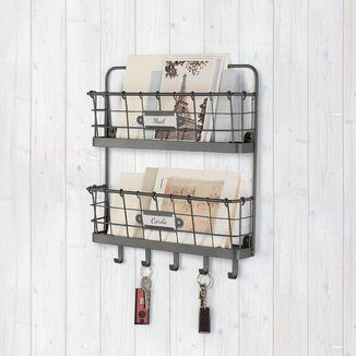 Wire Storage Rack Vintage Industrial Wall Unit Shelf Baskets Letters Keys Bronze