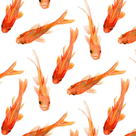 Hand painted orange goldfish design by jillbyers. Beautiful watercolor fish pai… Hand painted orange goldfish design by jillbyers. Beautiful watercolor fish painting great for summer napkins, upholstery or wallpaper!