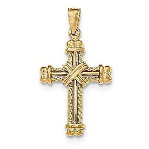 Wellingsale 14K Yellow Gold Polished Ornate Religious Communion Charm Pendant