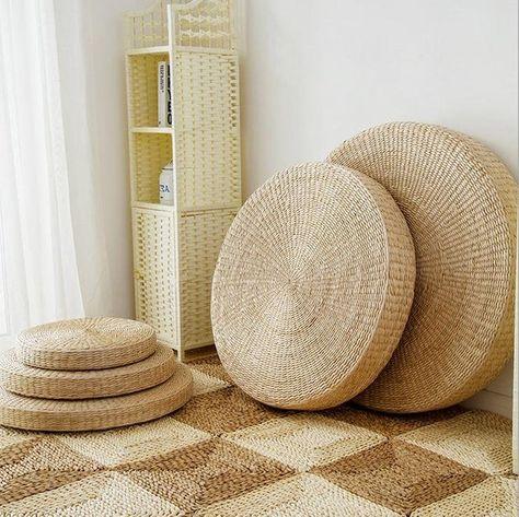 Cuscini Tabouret.Natural Straw Round Pouf Tatami Cushion Floor Cushions Meditation
