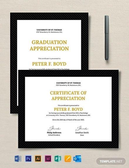 Graduation Appreciation Certificate Template Free Pdf Word Google Docs Graduation Certificate Template Certificate Templates Certificate Of Appreciation