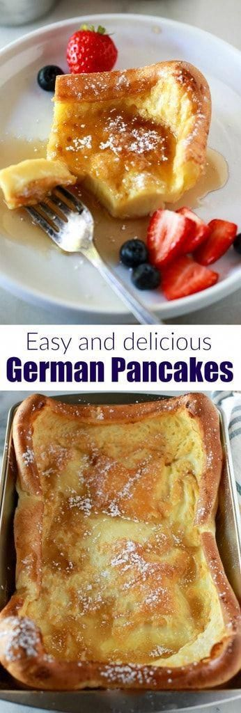 The absolute best german pancakes recipe. Six simple ingredients, five minutes to prepare, and a sure family favorite! | tastesbetterfromscratch.com  #easy #recipe #best #oven #german #pancakes  via @betrfromscratch #breakfastrecipes