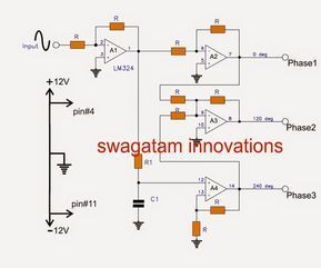 3 Phase Signal Generator Circuit Using Opamp Circuit Projects