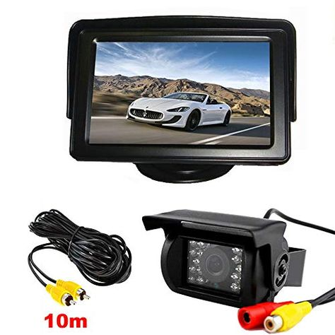 "Vehicle Backup Camera Kit 18 LED IR Night Vision Waterproof Car Reverse Rear View Mirror Camera   4.3"" Rearview LCD Monitor for 12V-24V Bus Truck Trailer RV with 10m Video Cable. #Vehicle #Backup #Camera #Night #Vision #Waterproof #Reverse #Rear #View #Mirror #4.3"" #Rearview #Monitor #12V-24V #Truck #Trailer #with #Video #Cable"
