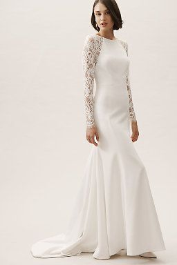 Wedding Dresses Gowns Bhldn Wedding Dress Long Sleeve Column Wedding Dress Sleeved Wedding