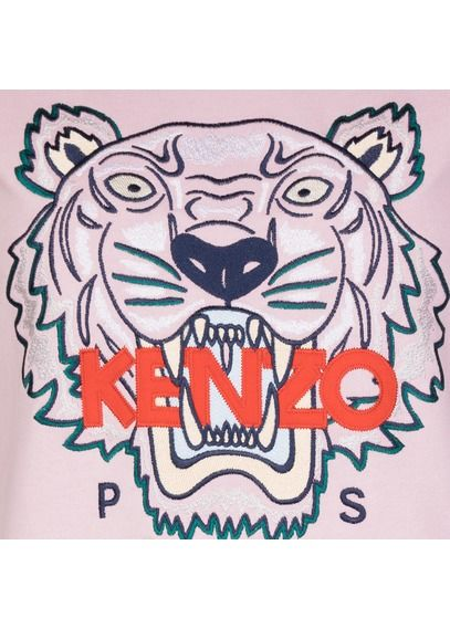 Https Www Placedestendances Com Fr Fr Kenzo Sweat Col Rond Brode Tigre En Coton Rose Createurs 3213928 Kenzo Sweat Kenzo Broderie