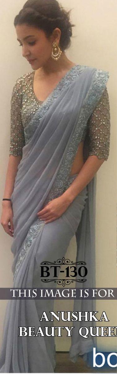 Designer Bollywood Anushka Grey Saree By Hir Fashion