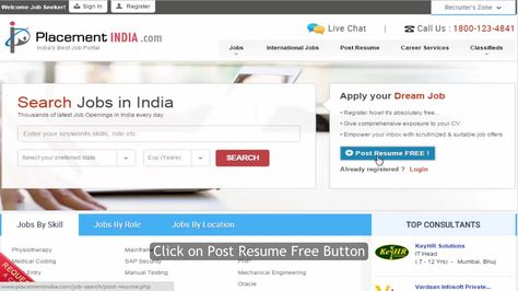 How to Post Your Resume on Placementindia Job portal - post a resume